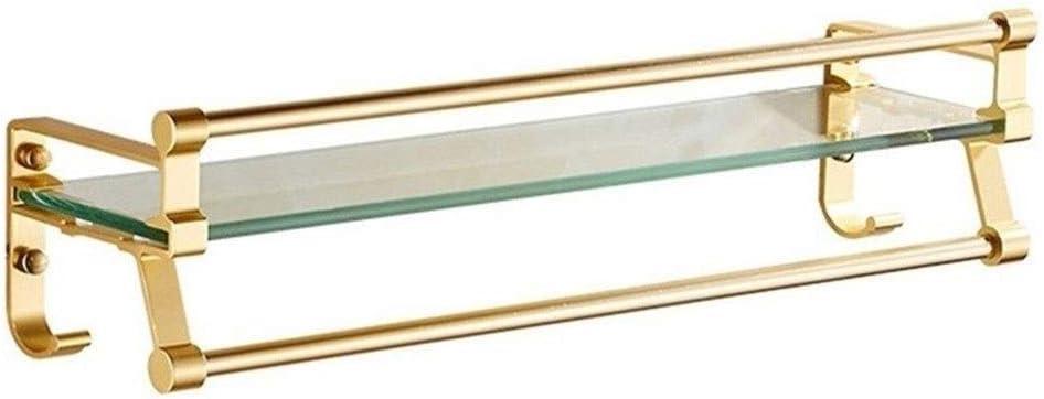 ZhanMazwj Toallero de esquina de cristal, estante rectangular de aluminio, cesta de ducha, accesorios de montaje en pared, con tornillo de perforación dorada, 16 ~ 24 pulgadas 02.01, metal, 60 cm