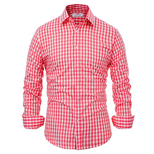 (Paul Jones®Men's Shirt Men's Red Plaid Button Down Dress Shirt Long Sleeve (L) KL-3 CL6299)