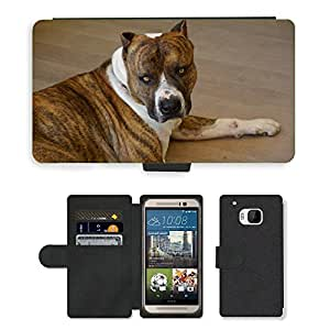 Super Stella Cell Phone Card Slot PU Leather Wallet Case // M00148948 Dog American Staffordshire Watchdog // HTC One M9