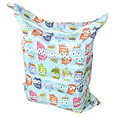 LOVE MY(TM) Solid Baby Wet and Dry Cloth Diaper Bag,Blue Owl