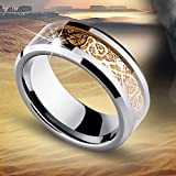 Celt Dragon Band Ring Men Gold Silver Black Stainless Steel Titanium Size 6-13#pimchanok shop (11, Gold)