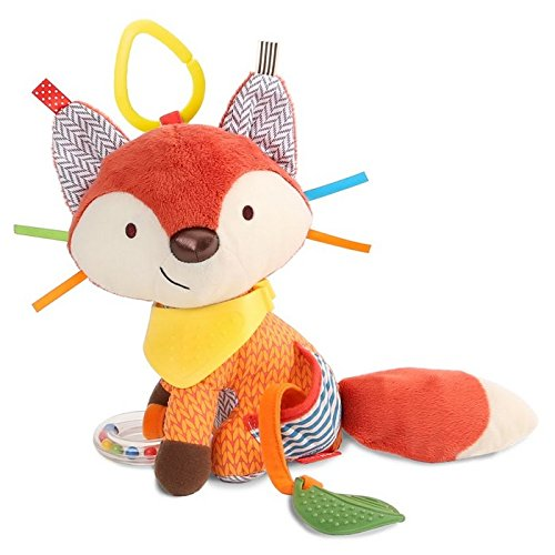 Skip Hop Bandana Buddies Baby Activity and Teething Toy with Multi-Sensory Rattle and Textures, Fox (Car Seat Toys Organic)