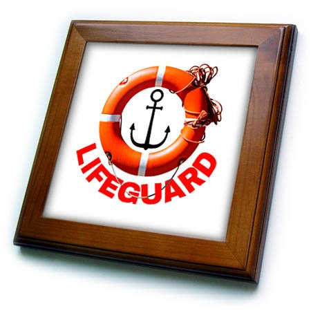 3dRose Alexis Design - Beach, Sea, Surf - Orange life buoy ring, rope, anchor, red text Lifeguard on white - 8x8 Framed Tile (ft_271712_1)