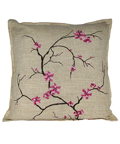 Serenta Faux Linen Cherry Blossom Embroidery Decorative Pillow, 22