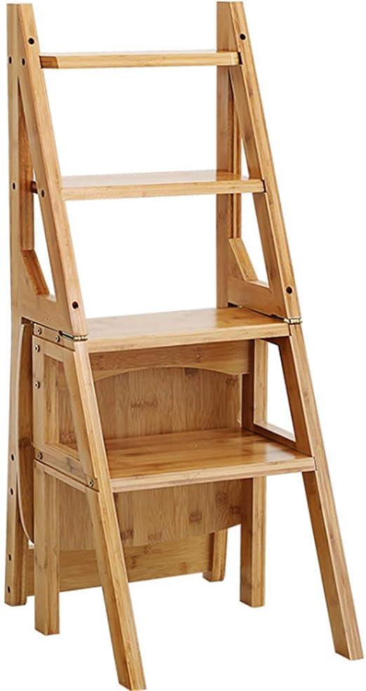 fang zhou Taburete de Escalera de 4 peldaños, Escalera de peldaño Plegable Multifuncional portátil de Madera Natural, Anticorrosión, Tablero de Madera Engrosada, Suave y sin Rebabas: Amazon.es: Hogar
