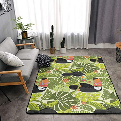 YOUNG H0ME Bedroom Livingroom Sitting-Room Big Size Area Rug Home Decor - Rainforest Animals Tropical Toucan Bird Floor Mat Doormats Fast Dry Toilet Bath Rug Exercise Mat Throw Rugs Carpet