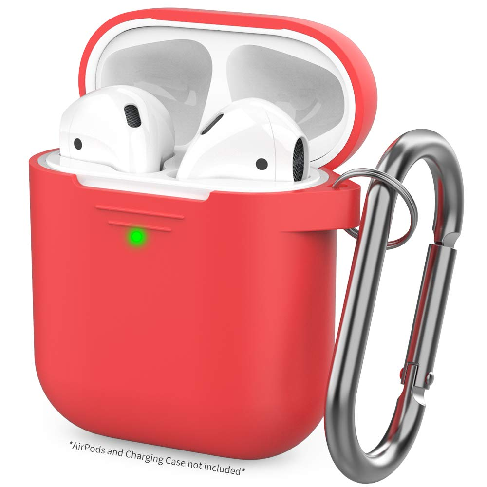 AhaStyle Upgrade AirPods Case Protective Cover (Front LED Visible) Silicone Compatible with Apple AirPods 2 and 1(Red)
