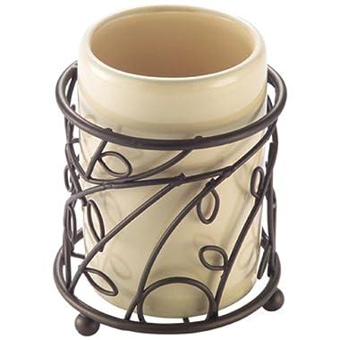 InterDesign Twigz Bath, Tumbler Cup for Bathroom Vanity Countertops - Vanilla/Bronze