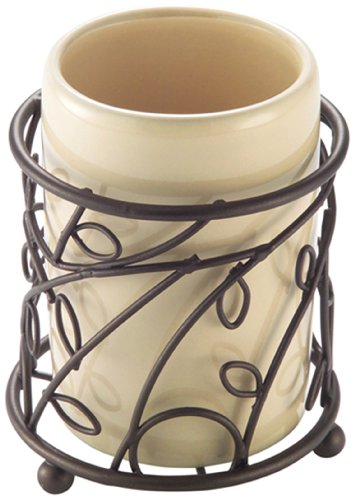 InterDesign Twigz Bath, Tumbler Cup for Bathroom Vanity Countertops - Vanilla/Bronze