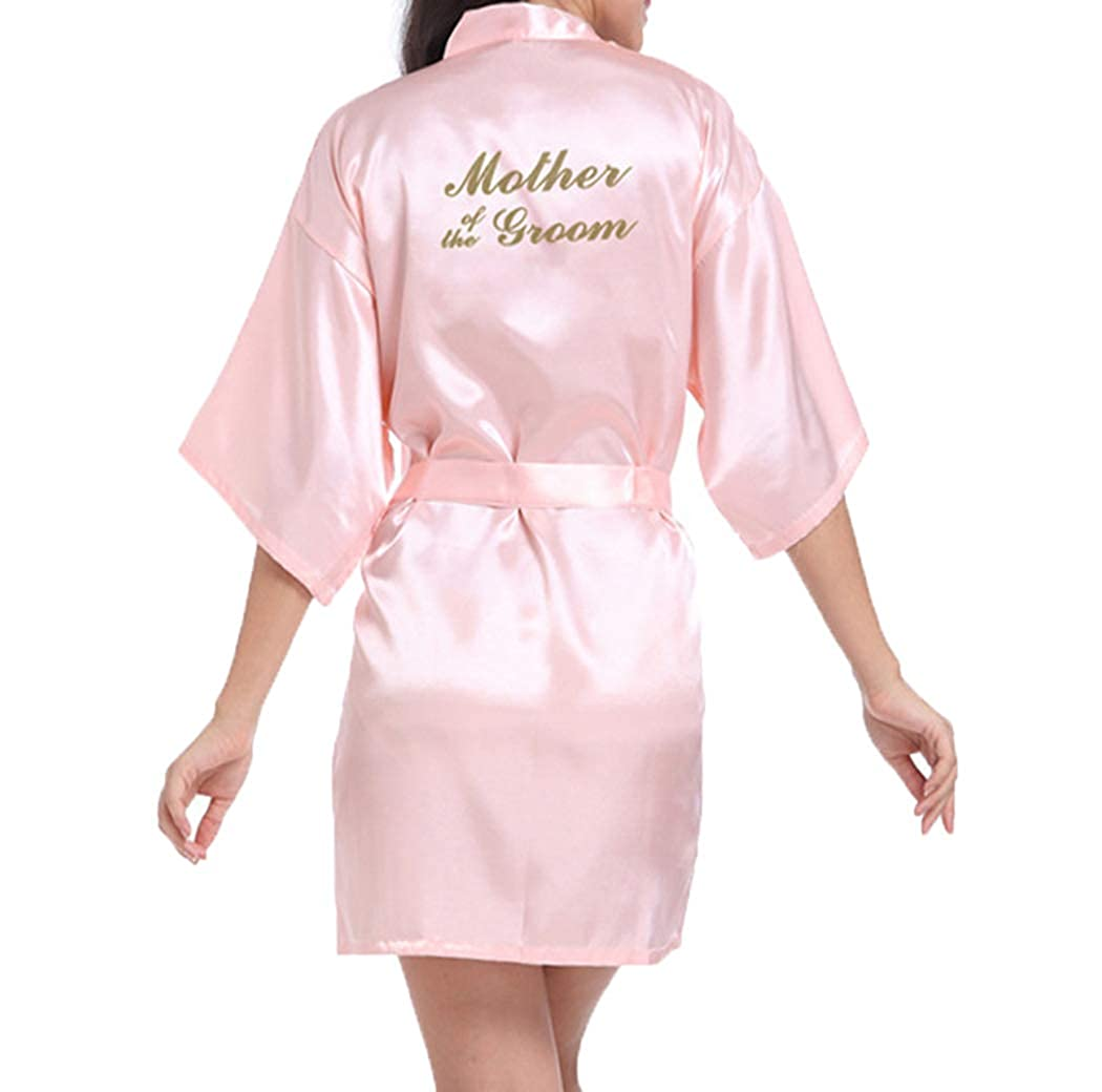 WPFING Bridal Bridesmaid Robes for Bride Kimono Wedding Party Getting Ready Gold Glitter Silky Satin