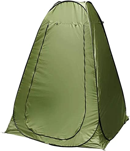 Amazon Com Portable Pop Up Privacy Tent Great For Outdoor Camping Shower Bathroom Camp Toilet Instant Dressing Room Roomy Rain Shelter For Hiking Fishing Easy Up Lightweight But Sturdy Color Green Sports Outdoors