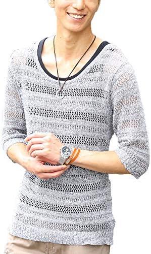 (メンズスタイル)メンズ ニット セーター 五分袖 ざっくりニット 5分袖 タンクトップ 薄手 メンズファッション