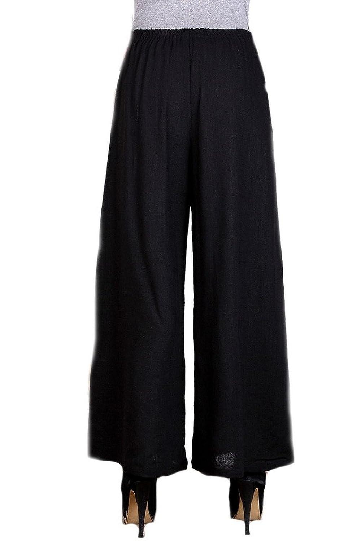 Bigood Women Vintage Black Chinese Fashion Tang Suit Cheongsam Loose Pants