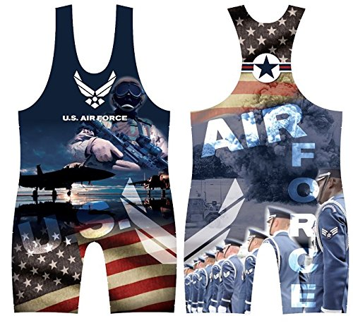 4-Time All American US Airforce Sublimated Wrestling Singlet size XS ()