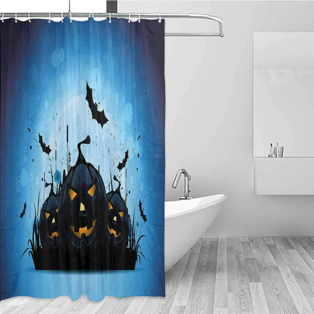 Bathroom Curtains,Halloween,Bathroom Curtain Washable Polyester,W94x72L Black Yellow Sky Blue by BE.SUN
