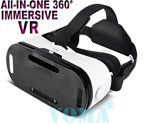 """3D VR Glasses, 360 Degree Viewing Immersive VR Virtual Reality Headset 3D Movie Game Box For iPhone 7 Plus/7/6s/6 Plus/6 Samsung Galaxy Series And Other 4.7""""-6.0"""" Smartphones(White)"""