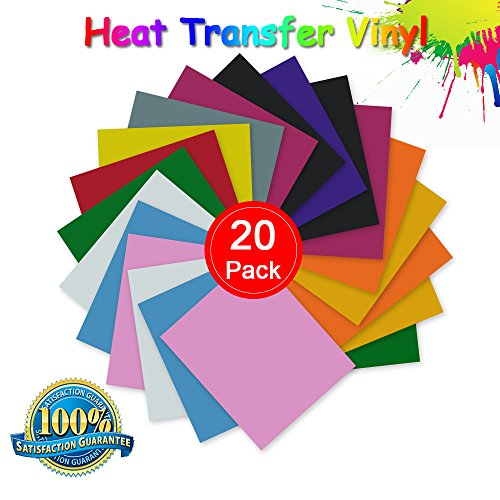 (Makerfun Heat Transfer Vinyl, Permanent Adhesive Backed Vinyl Sheets Assorted Colors - 20 Pack of 12 x 10