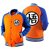 Holran Adult Goku Cosplay DBZ Hoodie Raglan Sleeves Baseball Jacket Sweatshirt (Medium, Orange1)