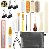 SUABNG 19 Pieces Bookbinding Tools Set Bone Folder Paper Creaser Waxed Linen Thread Wood Handle Awl Large-eye Needles for Handmade Books Bookbinding and Sewing Supplies
