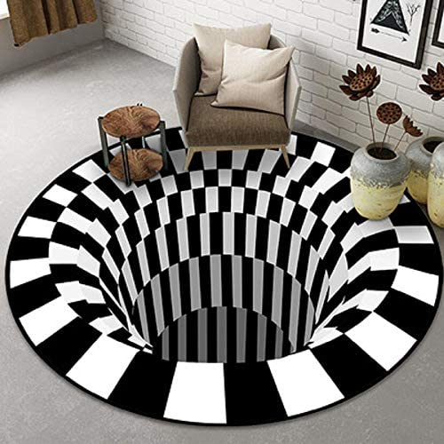 Generic Black and White Grid Round Carpet Living Room Doormat Coffee Table Sofa Blanket Three-Dimensional Illusion Carpet