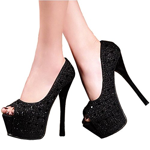 Getmorebeauty Women's Black Diamonds Party Dress High heel 7 B(M) US