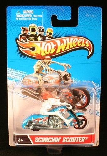 (Scorchin' Scooter (Blue / White) Motorcycle and Rider Hot Wheels 1:64 Scale 2012 Die-Cast Vehicle )
