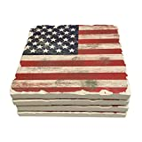 American Flag Drink Coasters Absorbent Stone With Natural Cork Backing (Old World Americana)