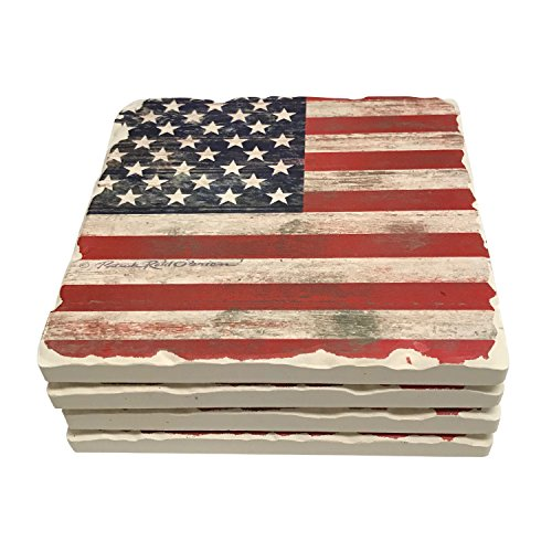 American Flag Tile (American Flag Drink Coasters Absorbent Stone With Natural Cork Backing (Old World Americana))