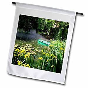 Lenas Photos - Nature - Beautiful little pond surrounded by various gorgeous flowers - 12 x 18 inch Garden Flag (fl_59246_1)