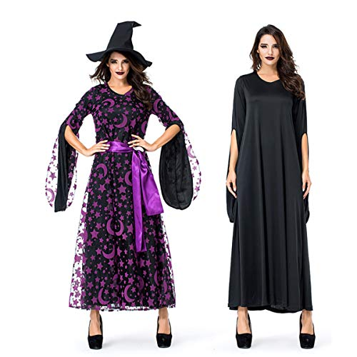 Aduit Moon Parent Porter enfant m Hat Witch Purple Ceinture Lune Voile Accessoires Manches aduit Longues Star Robe Halloween Magic 8xEpvUzq