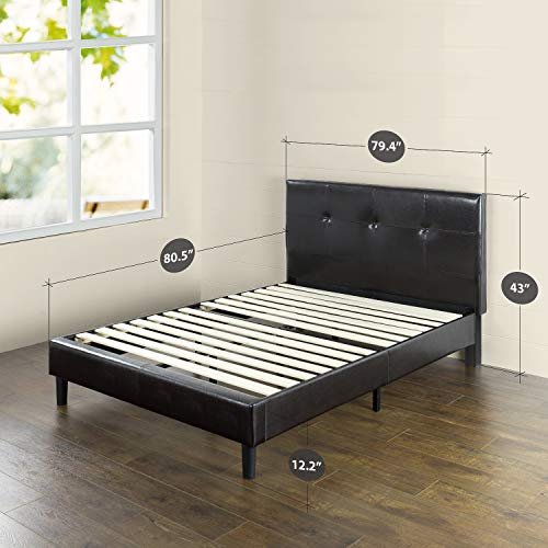 Zinus Kitch Faux Leather Detail-Stitched Platform Bed with Wooden Slat Support, King