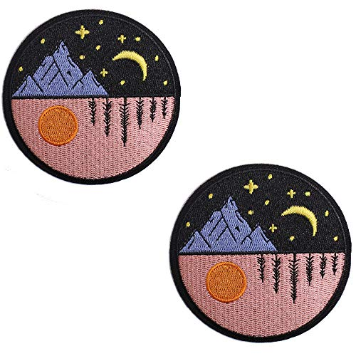 AXEN Day and Night Patches Embroidered Iron-on Badge Patches, Iron On Sew On Emblem Patches DIY Accessories, Pack of 2