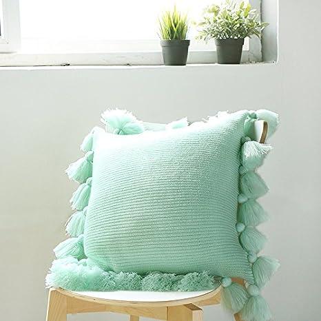 ZZALL - Funda para cojín (45 x 45 cm), diseño de casa, Verde ...