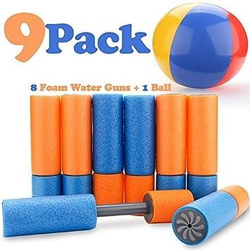 8 unidades de pistola de agua de espuma pequeña y 1 pelota de ...