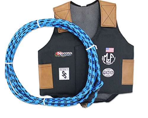 M & F Western Boys' Bull Rider Play Vest 2-10 Years (Small, Blue) (Bull Rider Costume)