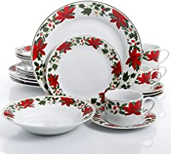 Gibson Home Poinsettia Holiday 20 Piece Dinnerware Set - (Christmas Theme)  sc 1 st  Amazon.com & Amazon.com: Holiday - Dinnerware Sets / Dining u0026 Entertaining: Home ...