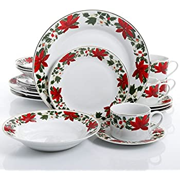 Gibson Home Poinsettia Holiday 20 Piece Dinnerware Set - (Christmas Theme)  sc 1 st  Amazon.com & Amazon.com: Gibson Home Tree Trimming 20-Piece Ceramic Dinnerware ...