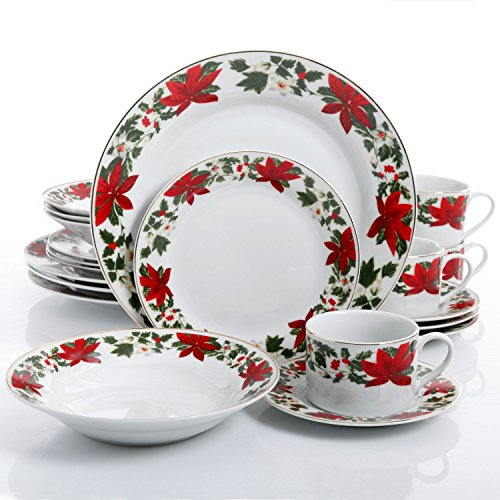 Gibson Home Poinsettia Holiday 20 Piece Dinnerware Set - (Christmas Theme)