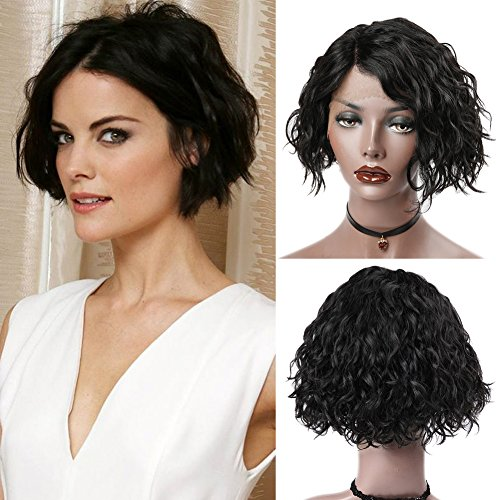 WIGNEE Short Bob Lace Front Natural Wave Wigs 100% Brazilian Human Hair Side Part Fashion Glueless Wavy Lace Wigs (lazy natural (Human Hair Short Bob)