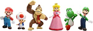 LEBERY Super Mario Brothers Cake Toppers, 6pcs Mario Action Figures Toys, Mario Birthday Cake Topper Cupcake Topper, Mario Cake Decorations for Kids Birthday Baby Shower Mario Theme Party Supplies