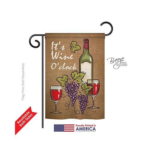 Breeze Decor G167033 It's Wine Happy Hour and Drinks Double Side Decorative Garden Flag, 13