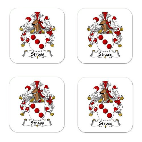 Strass Family Crest Square Coasters Coat of Arms Coasters - Set of ()