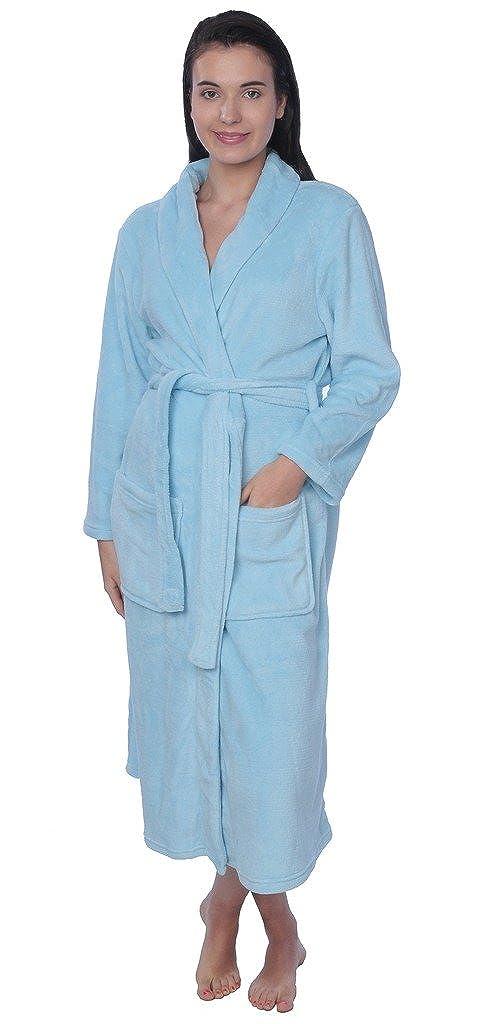 Women's Plus Size Plush Soft Warm Fleece Long Bathrobe Robe