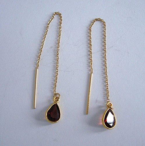 red garnet January birthstone 14k yellow gold filled chain earrings (Gold Amethyst Threader Earrings)