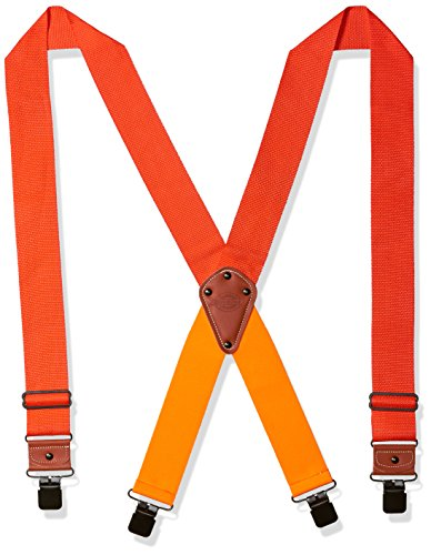 Dickies Industrial Strength Suspenders - Men's Wide Adjustable Thick Strap Clips for Work Heavy Duty Pants , neon orange, One sizee]()