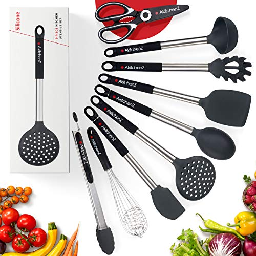Kitchen Utensil Set -9 Kitchen Tool Set Silicone and  Stainless Steel Utensils   Heat Resistant Utensils Set Spatula Whisk Tongs 	 Cooking Utensil Set   	 Spoon Utensils  Shears   Best Kitchen Tools