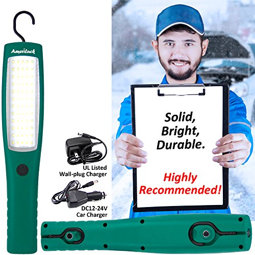 AmeriLuck Commercial Grade Cordless LED Work Light, Rechargeable Portable Lamp Flashlight with Hanging Hooks, Magnetic Base, Professional 3 Modes, 60 LED Diodes Super Bright - Work Light 60 Led Cordless