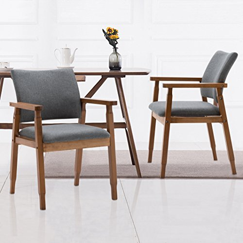 Set of 2 Mid Century Modern Dining Chairs Wood Arm Gray Fabric Kitchen Cafe Living Room Decor Furniture