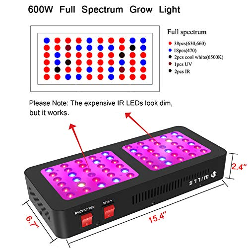 Wills Newest Reflector Series Grow Light 600w Full