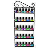 Dazone DIY Mounted 5 Shelf Nail Polish Wall Rack Organizer Holds 50 Bottles Nail Polish or Essential Oils(Black)